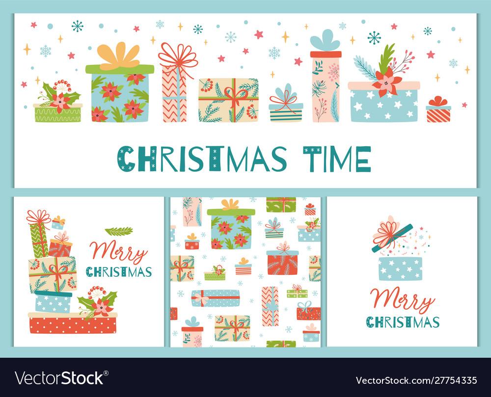 Christmas banner set cute gift box presents