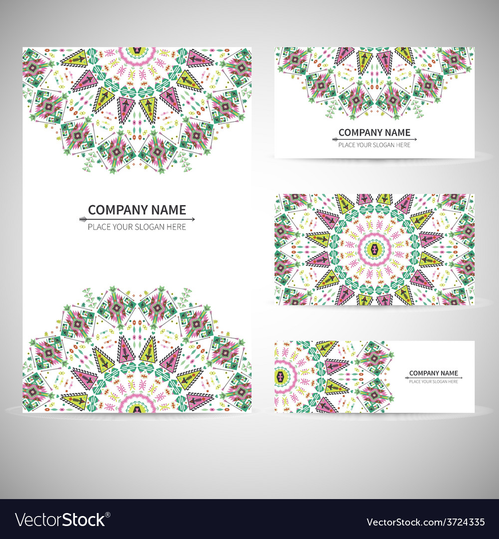 Colorful geometric card template in aztec style vector image