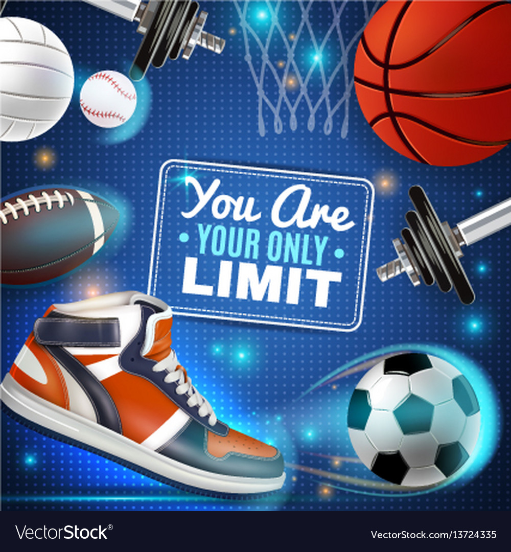 Colorful poster with sport inventory