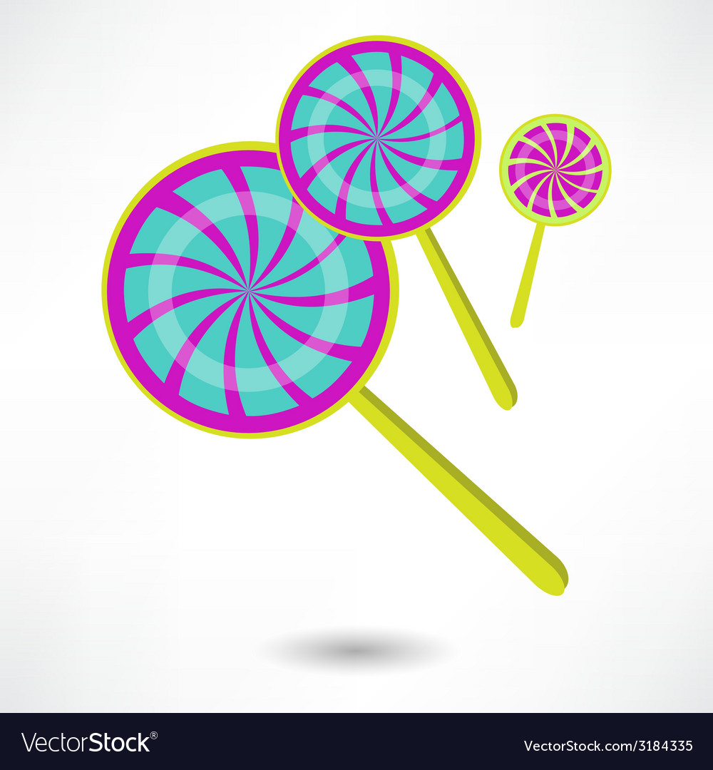 Colorful spiral lollipops