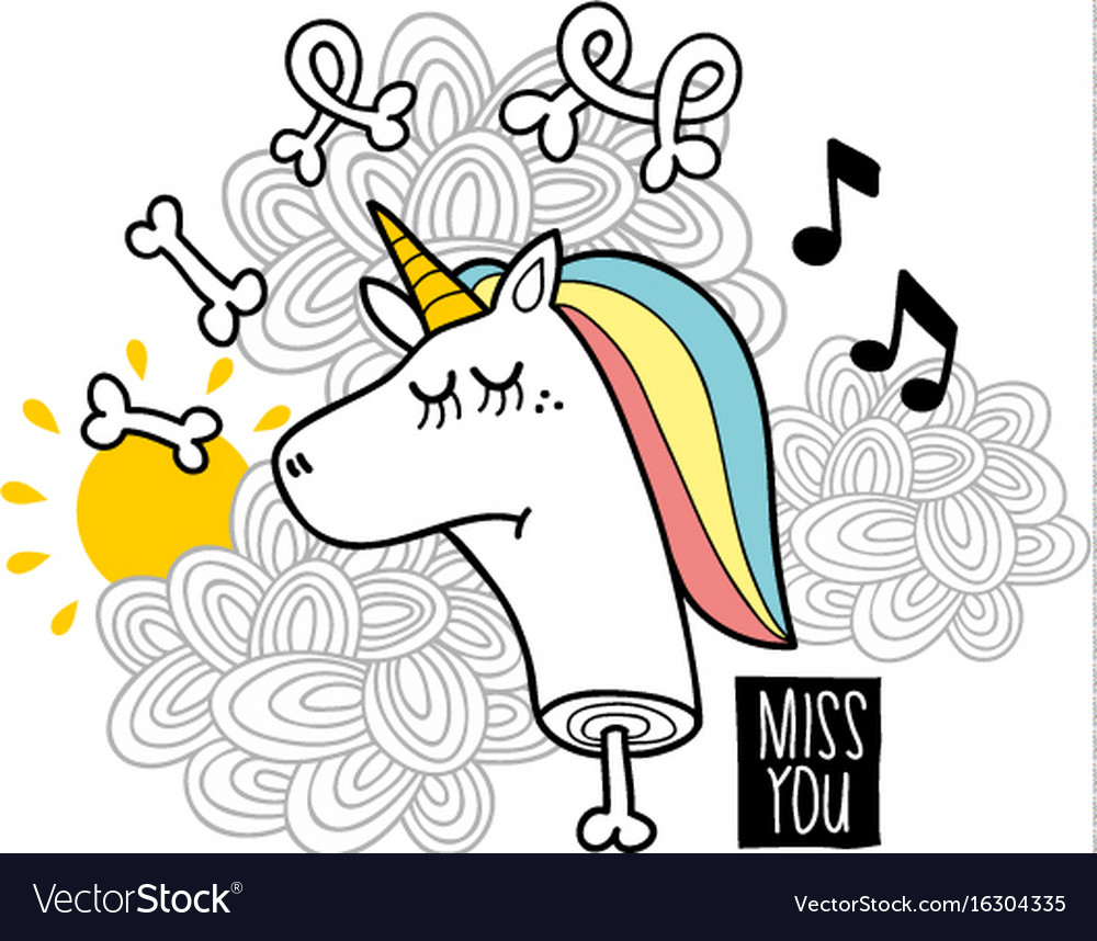 Dead unicorn with bones vector image