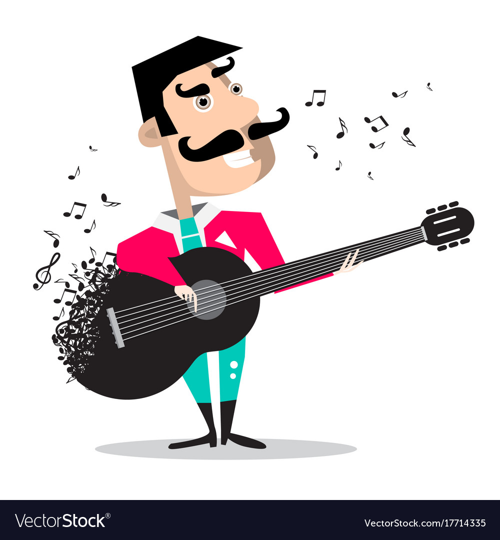 Guitar player singing song funky mexican