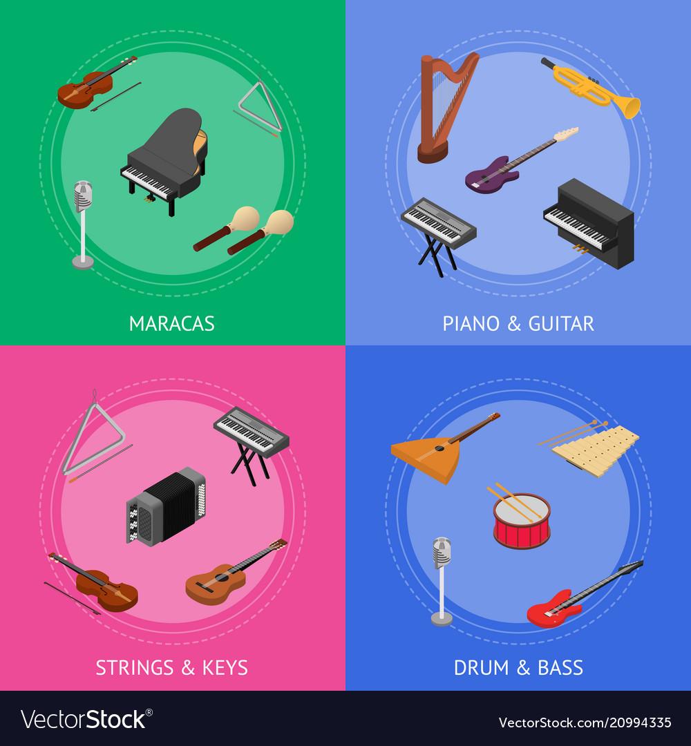 Musical insrtuments banner card set