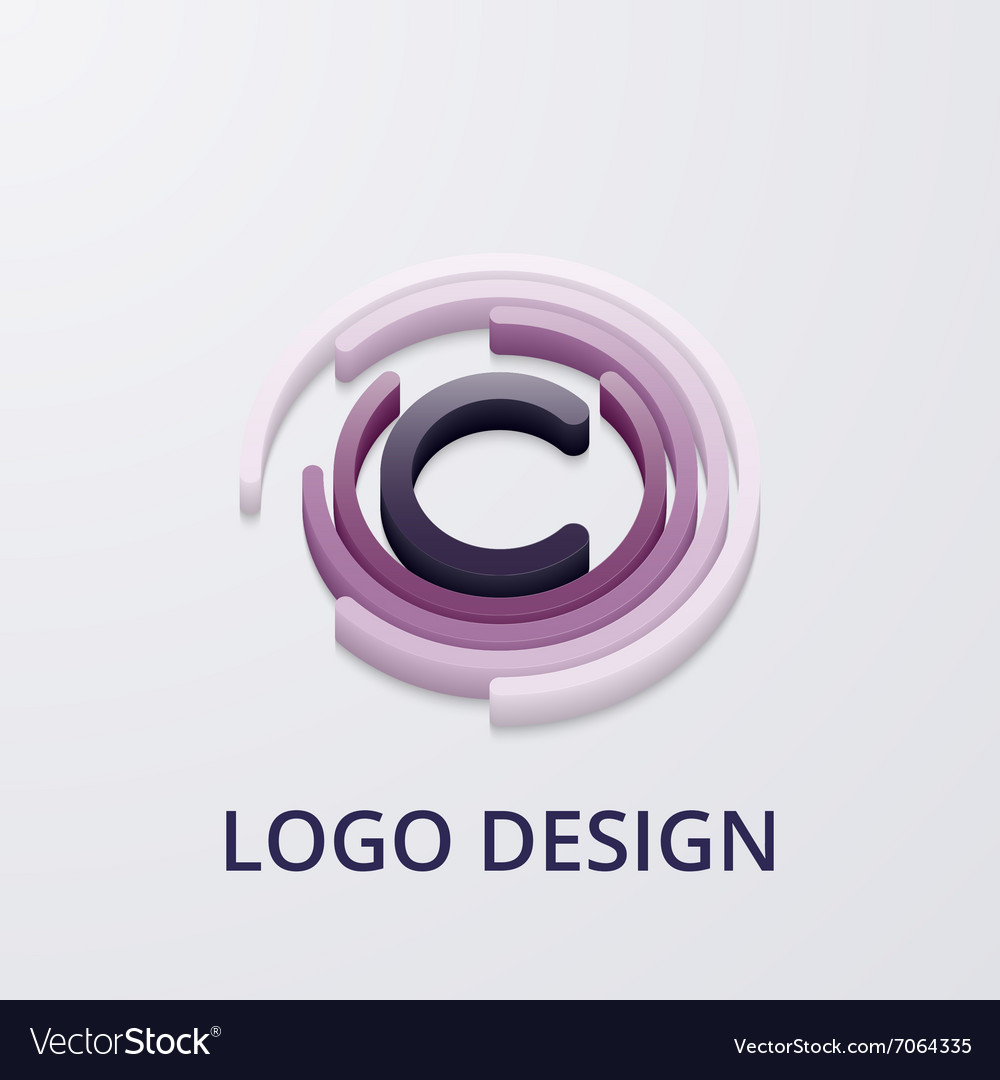 Stock 3d logo letter c Royalty Free Vector Image