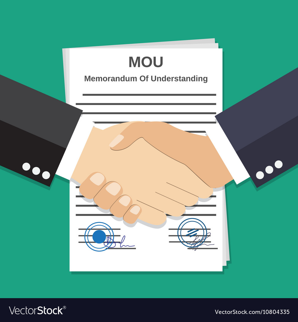 Two Businessman handshake on mou memorandum
