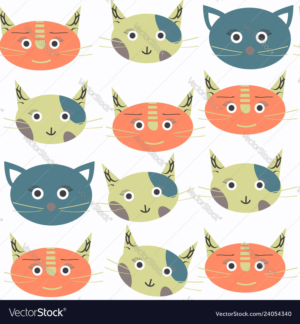 Abstract cat seamless pattern it is located in