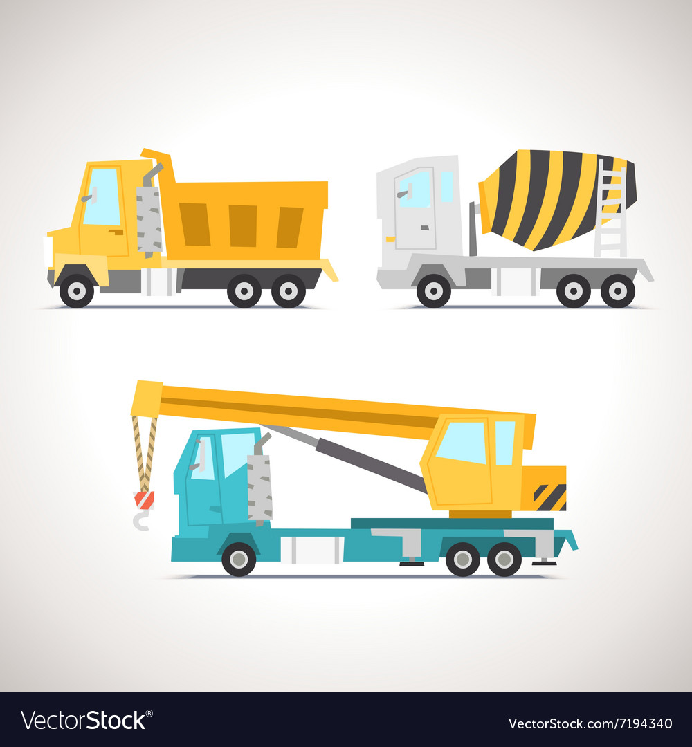 Car Flat Icon Set with Construction Equipment vector image