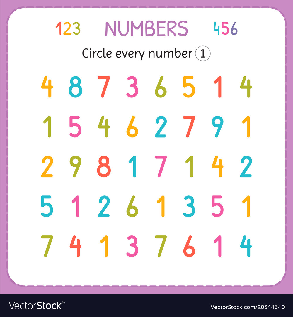 Circle every number one numbers for kids Vector Image