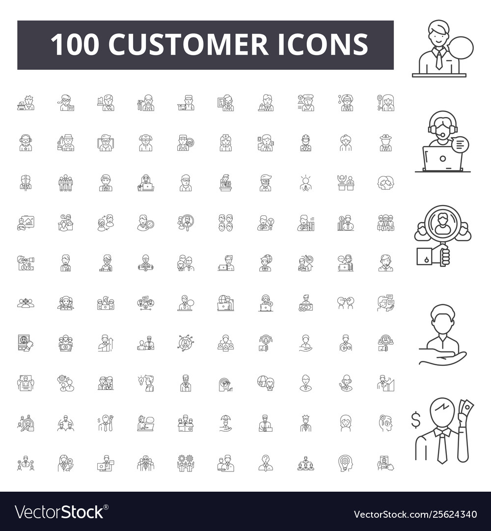 Customer line icons signs set outline