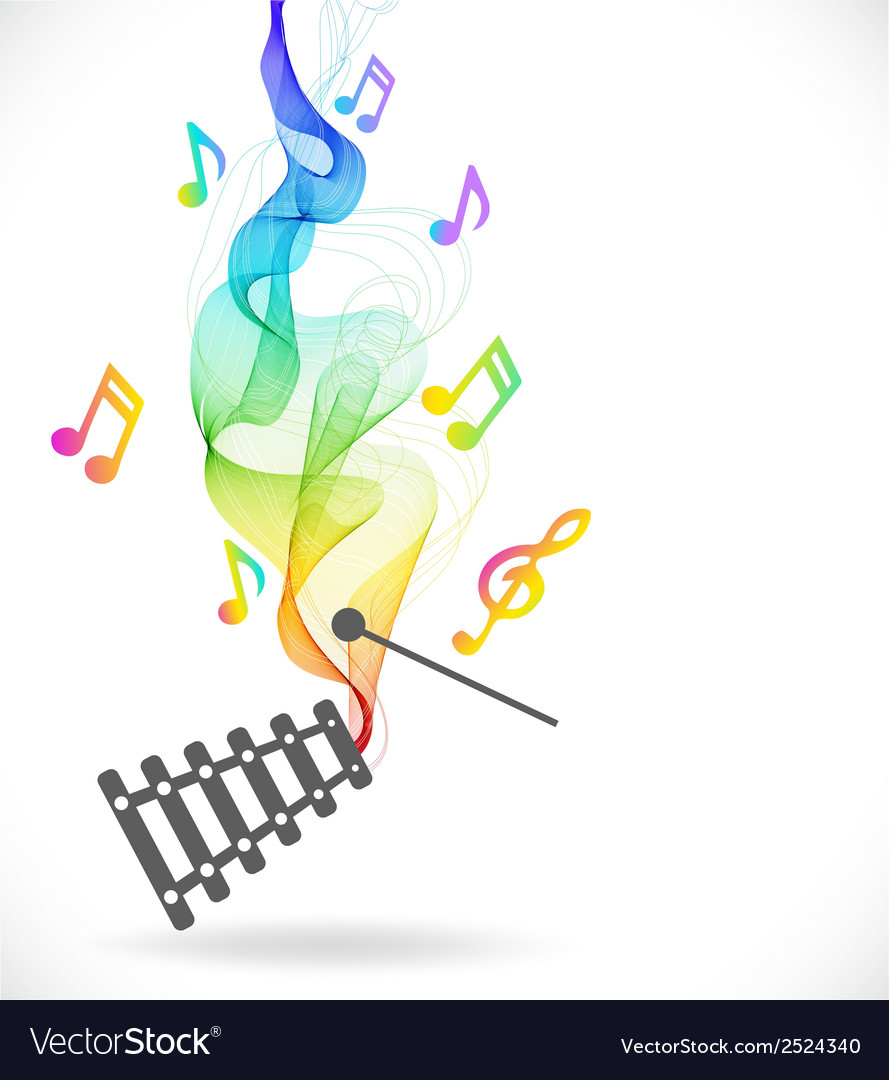Dark gray xylophone icon with color abstract wave