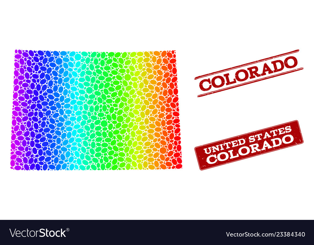 Dotted Spectrum Map Of Colorado State And Grunge Vector Image