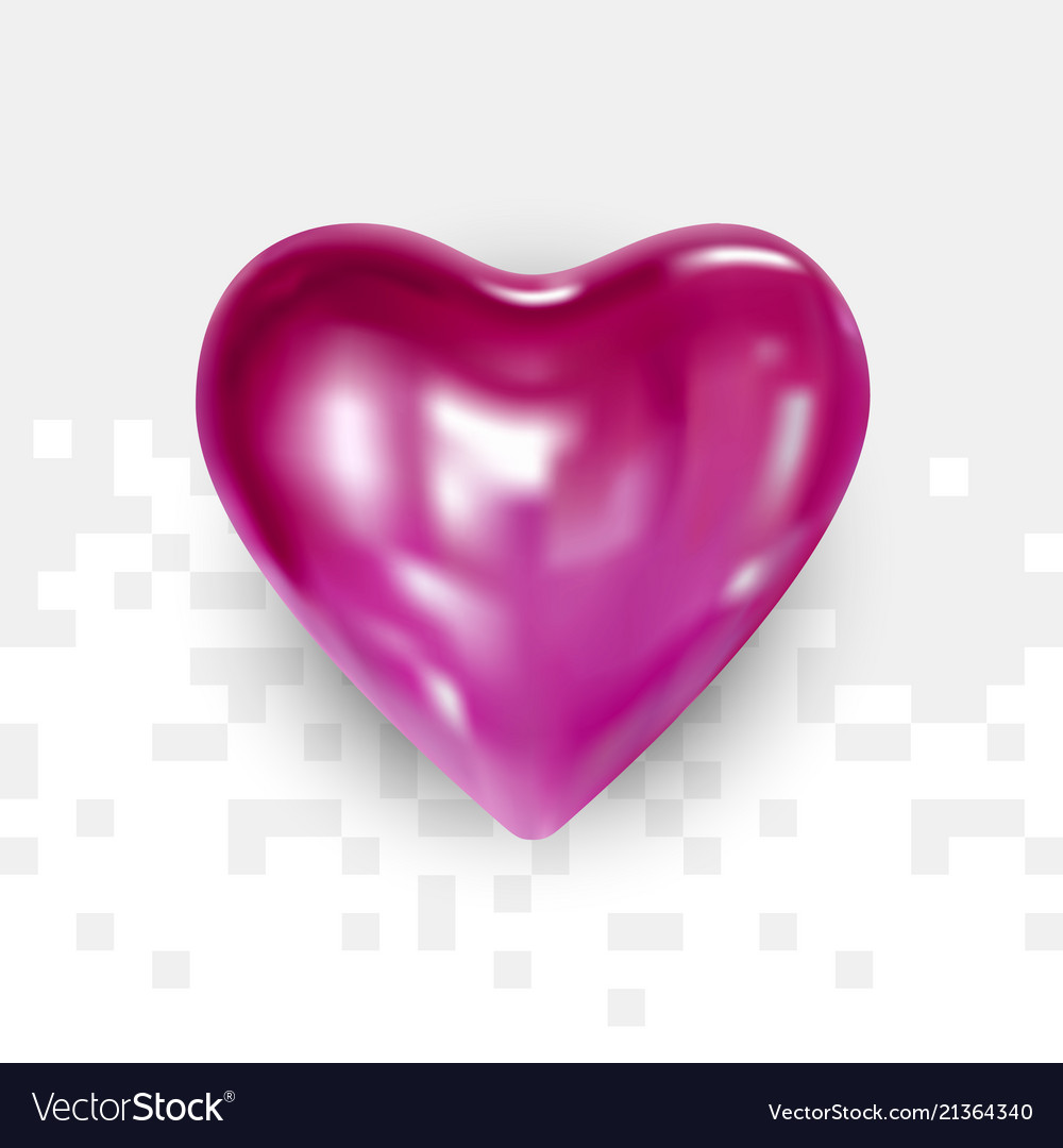 Glossy pink heart for valentines day
