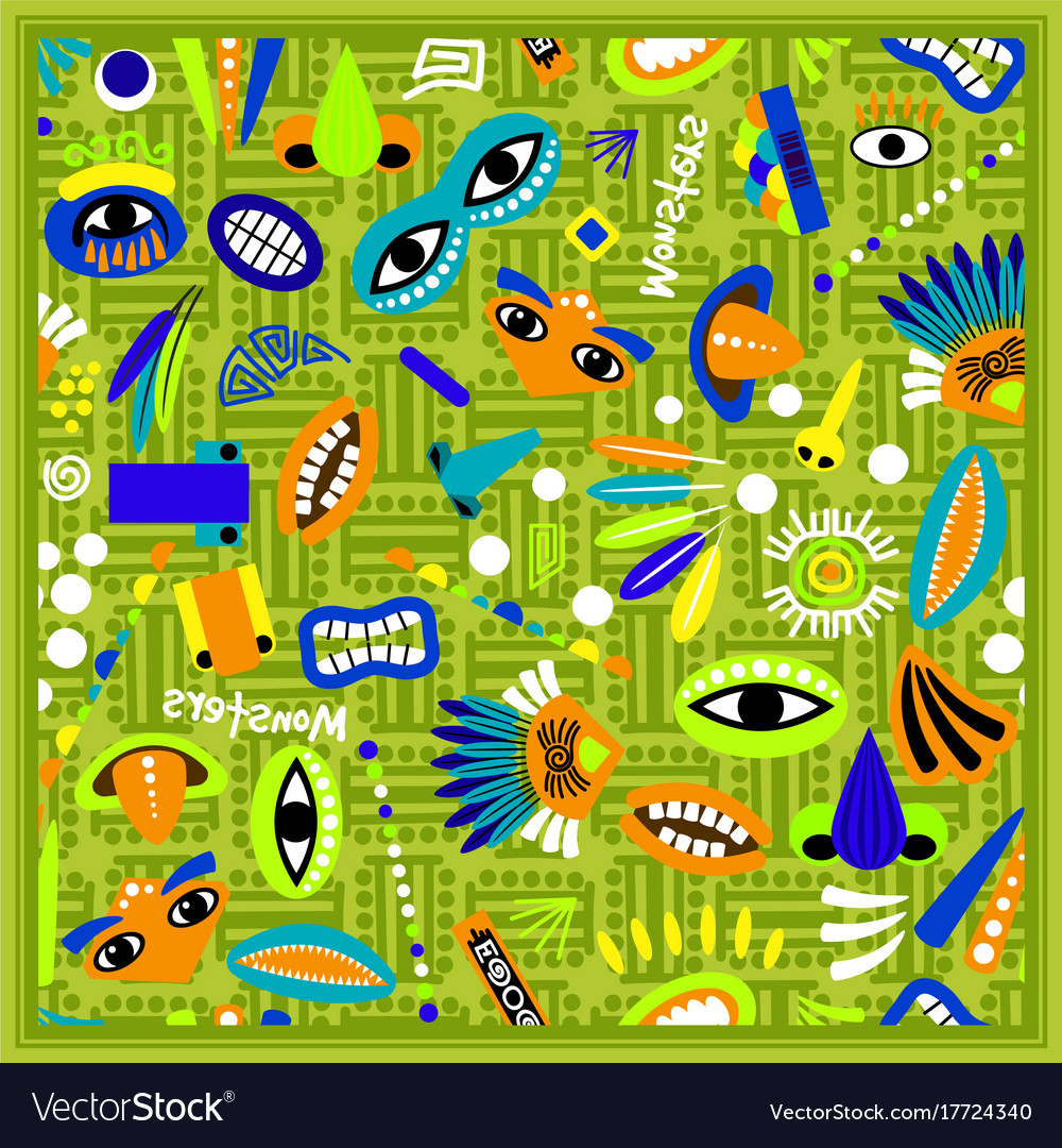 Kids green bandana with monster pattern