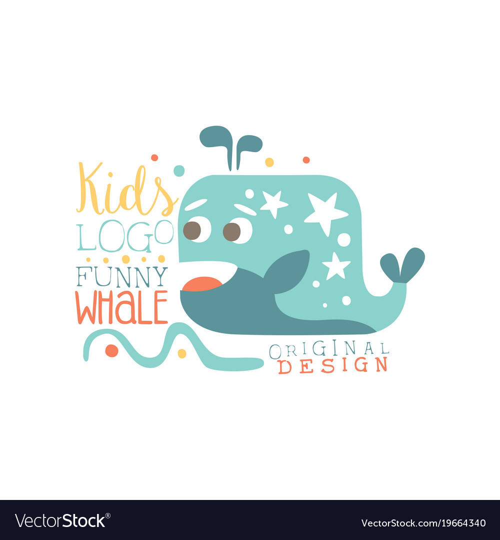 Kids logo original design funny whale baby shop vector image