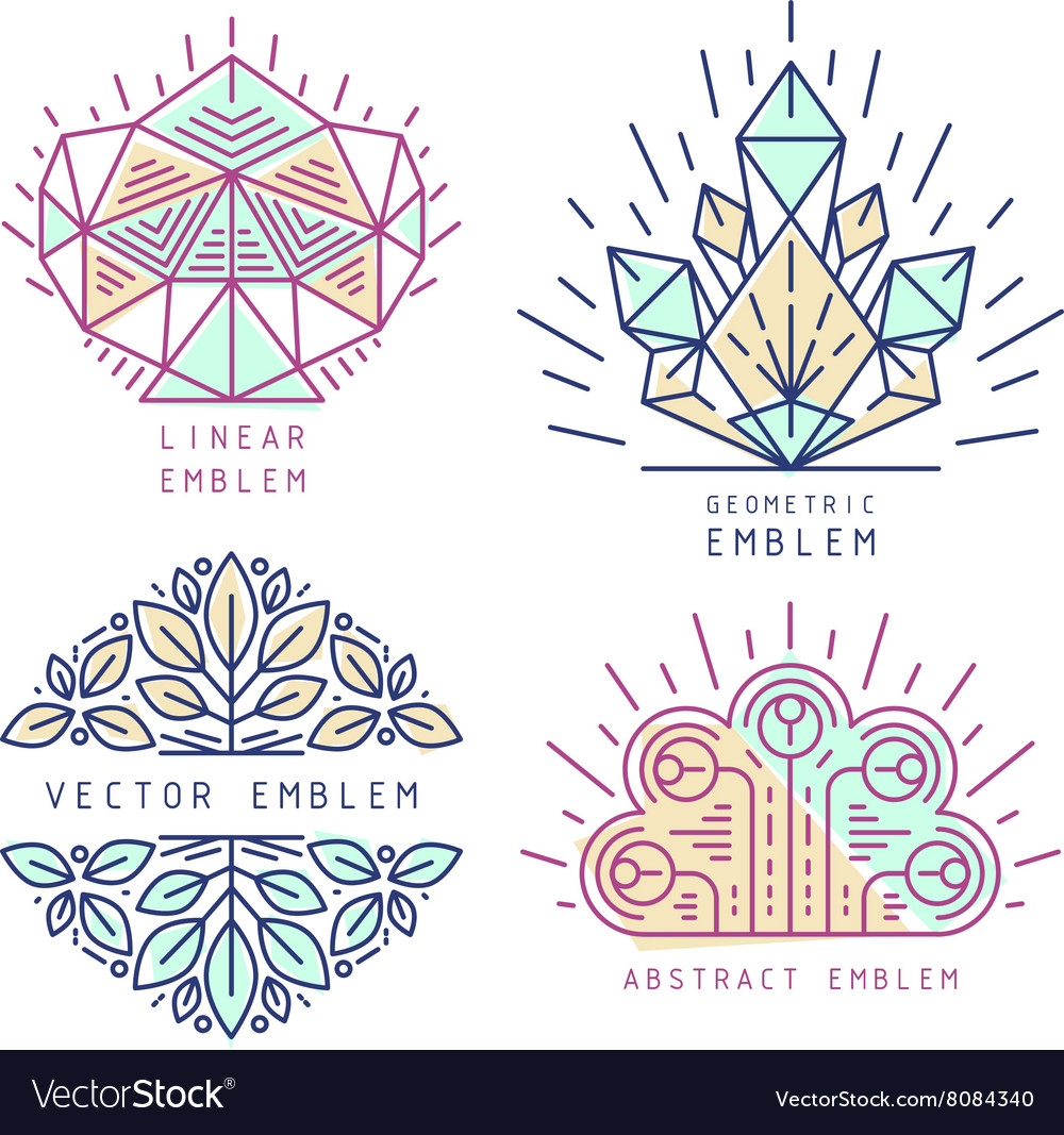 Linear abstract emblems