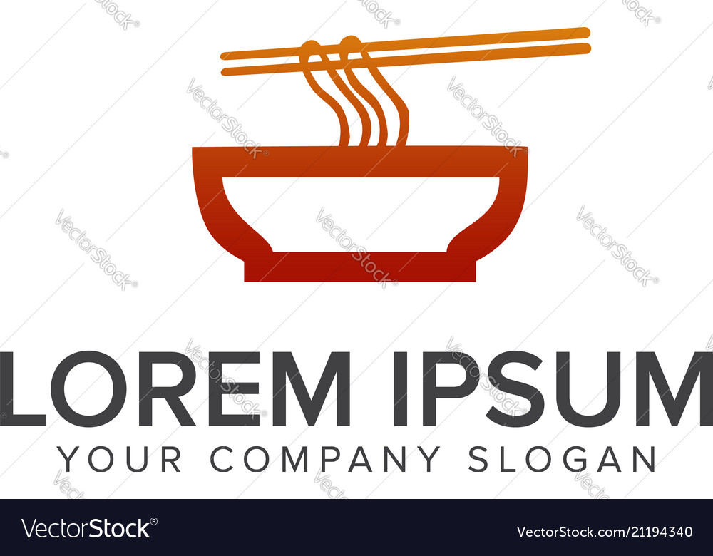 Noodle logo dining logo design concept template