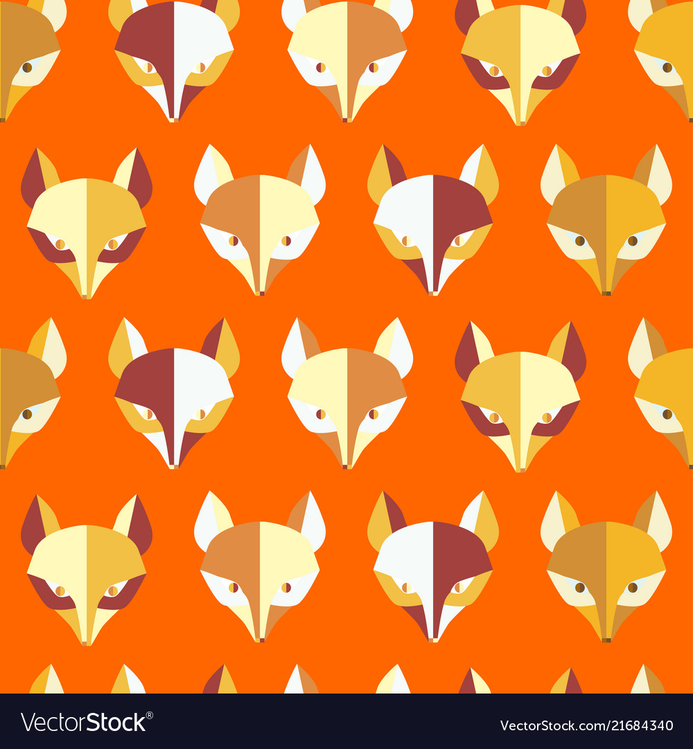 Paper foxes orange seamless pattern