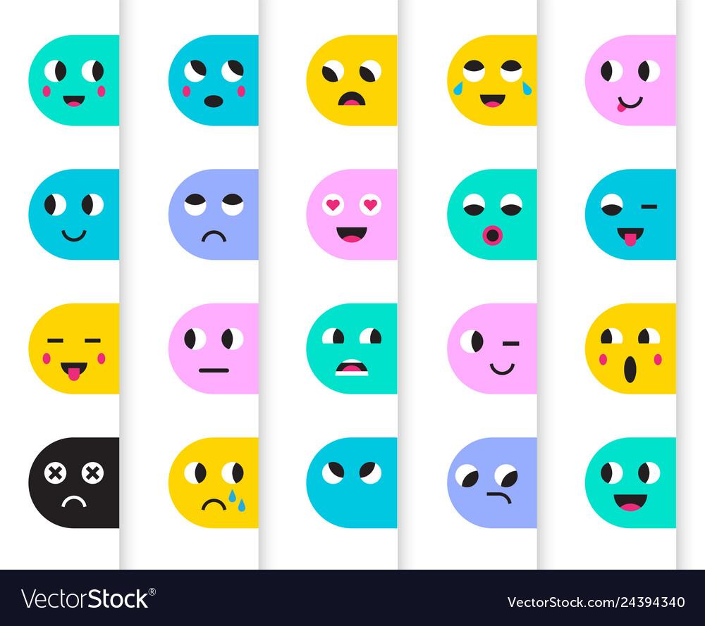Set of emoticons stickers emoji