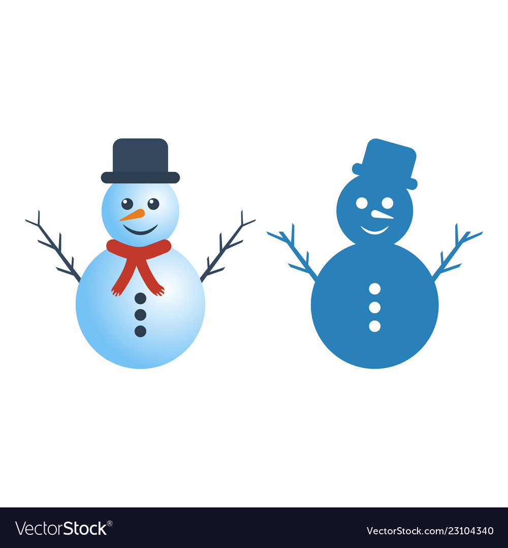 Snowman in two versions on white background