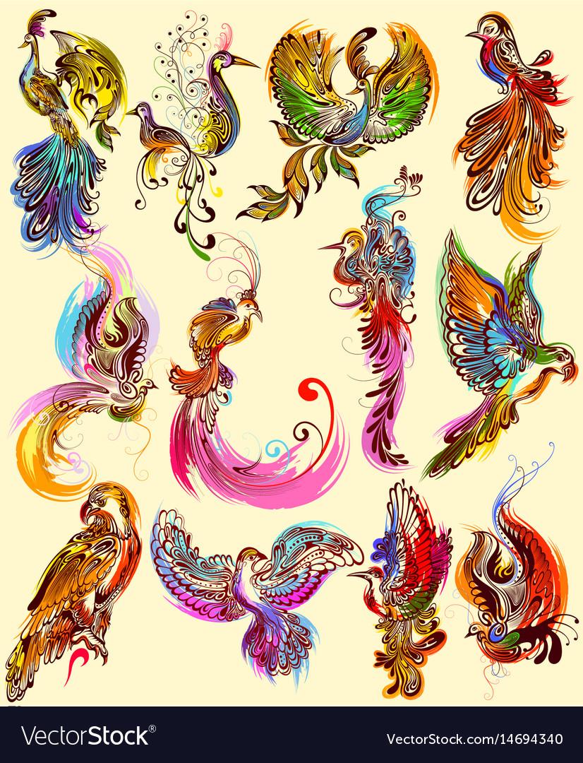 Tattoo art design of bird collection