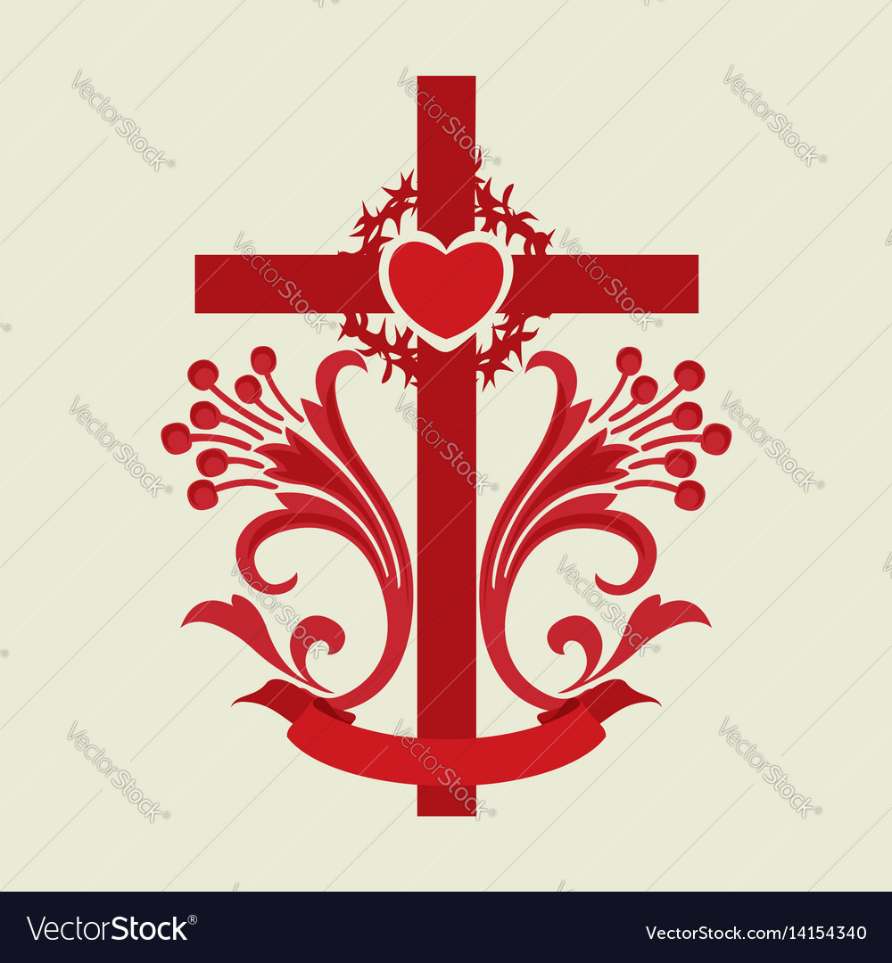 The cross of jesus christ and the heart Royalty Free Vector
