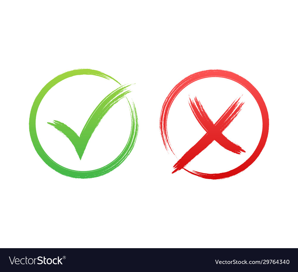 Tick and cross signs green checkmark ok and red x