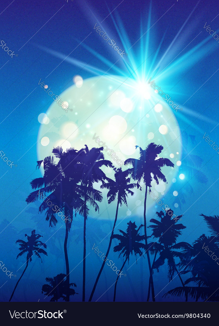 Turquoise shining moon with black palm trees