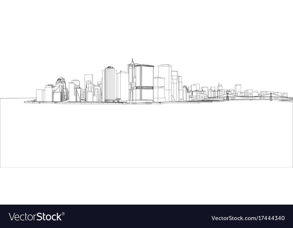 Wire-frame new york city blueprint style Vector Image