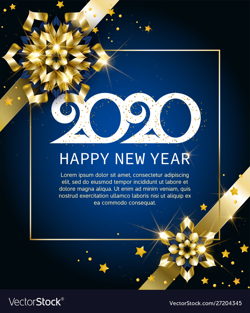 2020 happy new year gold greeting card