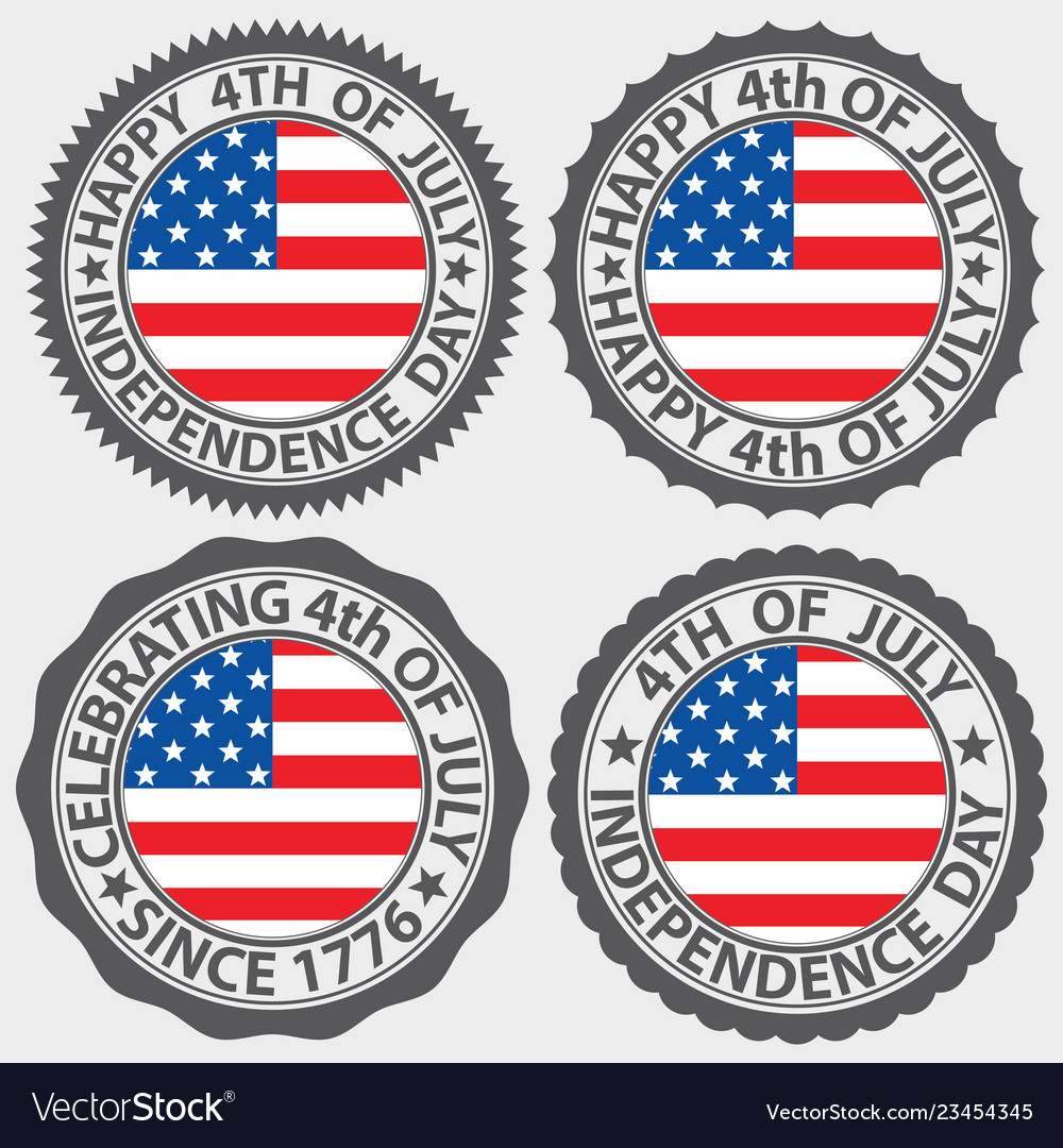 4th of july usa independence day label set