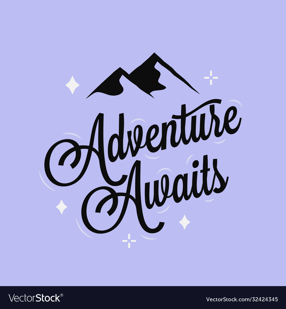 Adventure awaits logo lettering on blue background