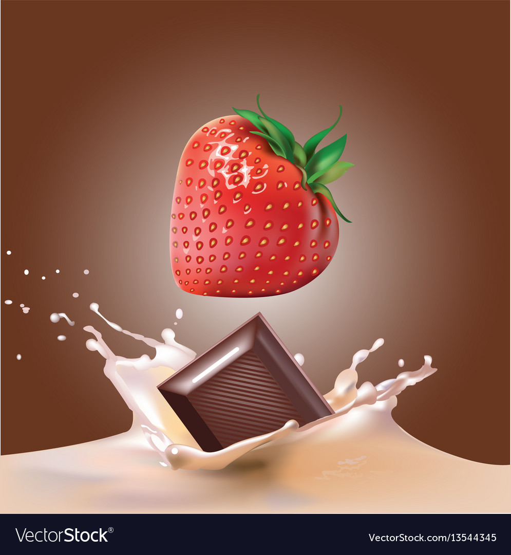 Beautiful strawberries chocolate and milk