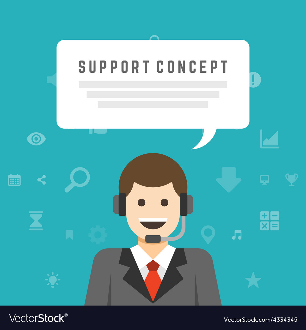 Business man support service concept and flat