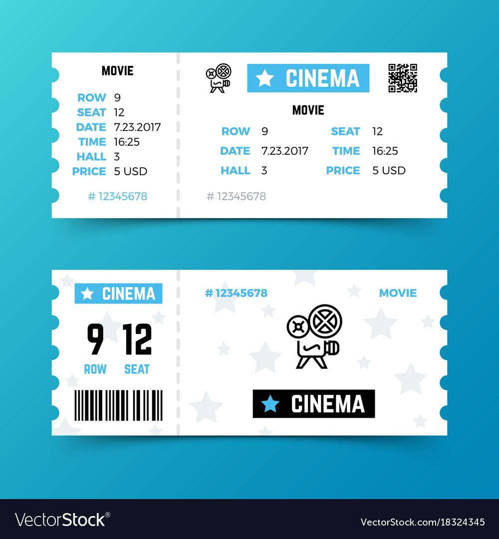 Cinema entrance ticket template in modern