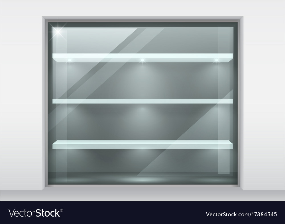 Glass showcase with shelves Royalty Free Vector Image