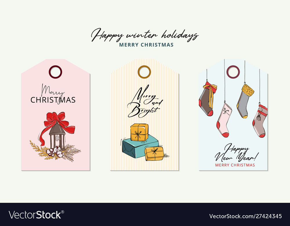 Hand-drawn cartoon winter holidays greeting