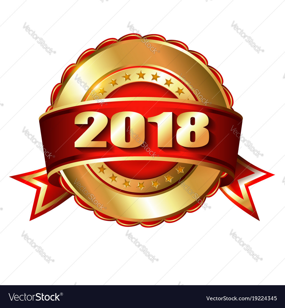 happy new year 2018 golden label and stamp vector image