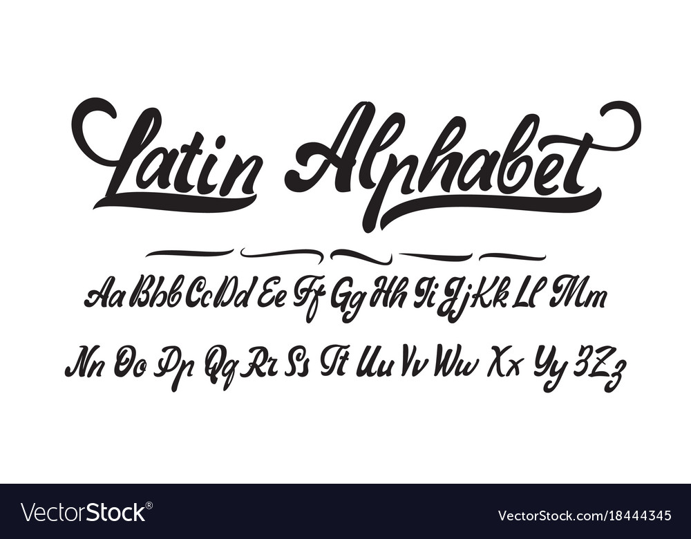 latin alphabet hand made font for your design vector image. Black Bedroom Furniture Sets. Home Design Ideas