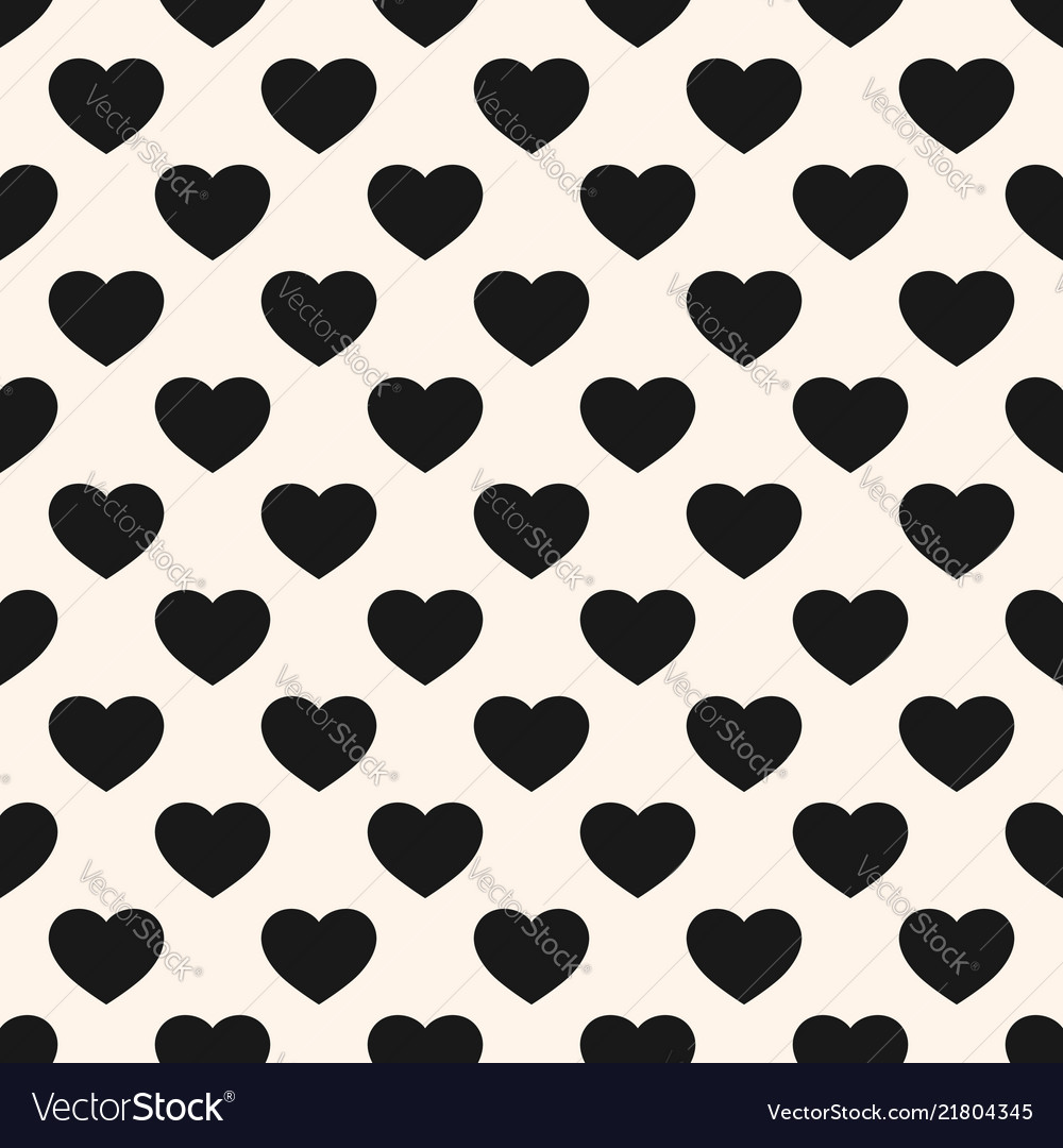 Monochrome seamless pattern with heart shapes