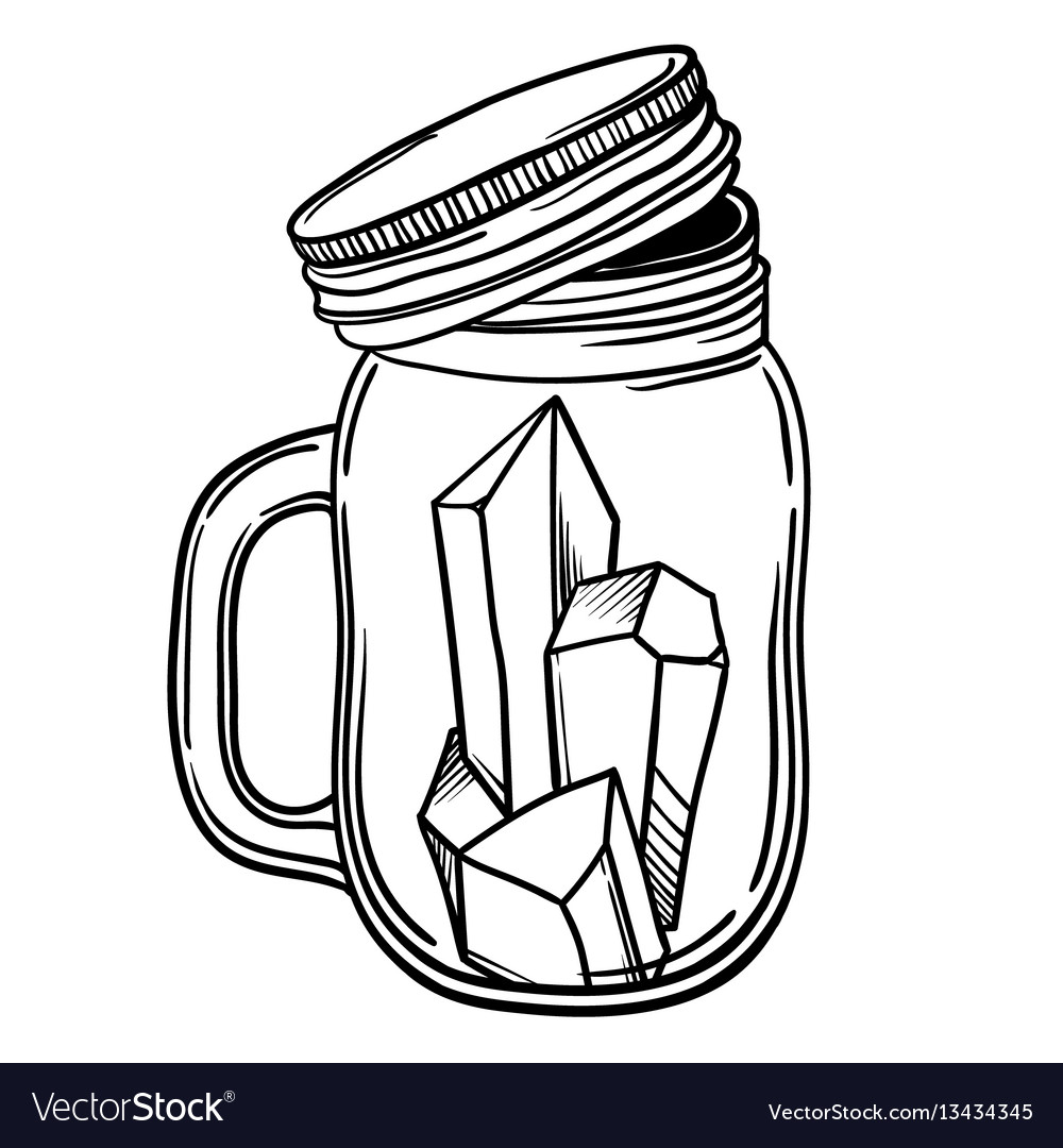 Print with a beautiful jar of crystal and diamond