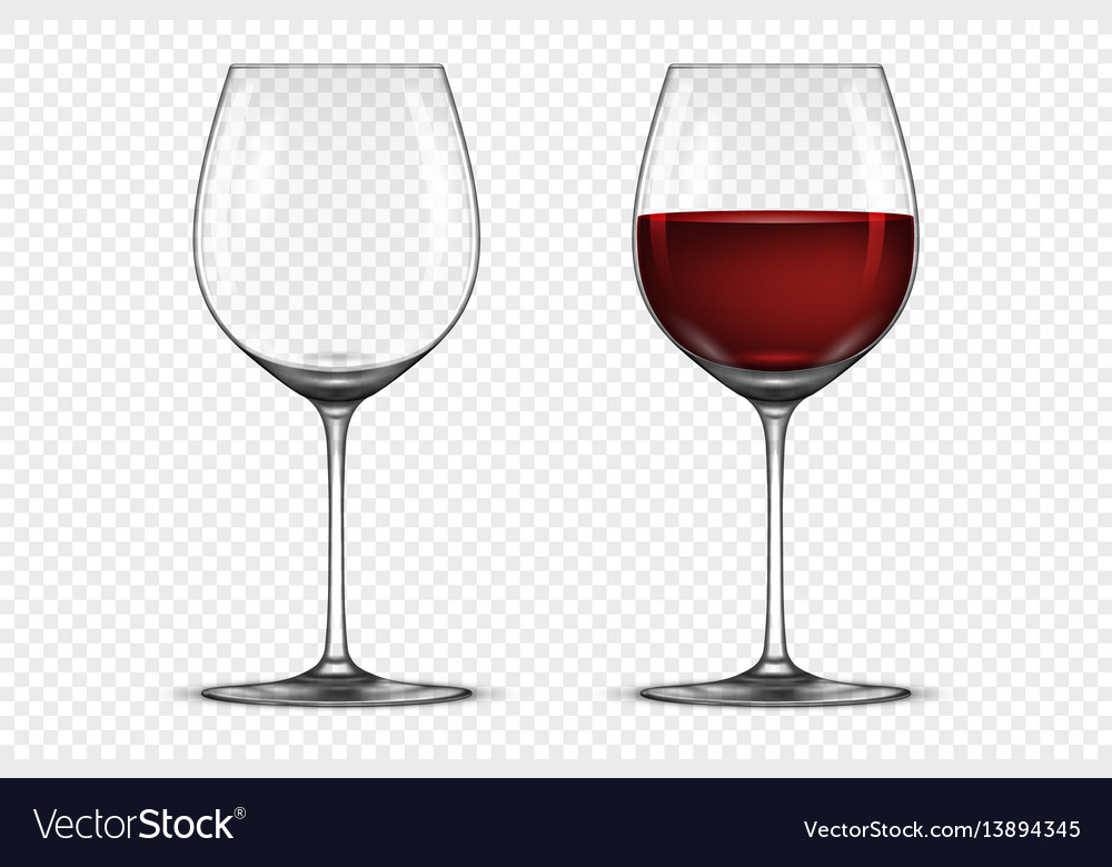 Realistic wineglass icon set - empty and