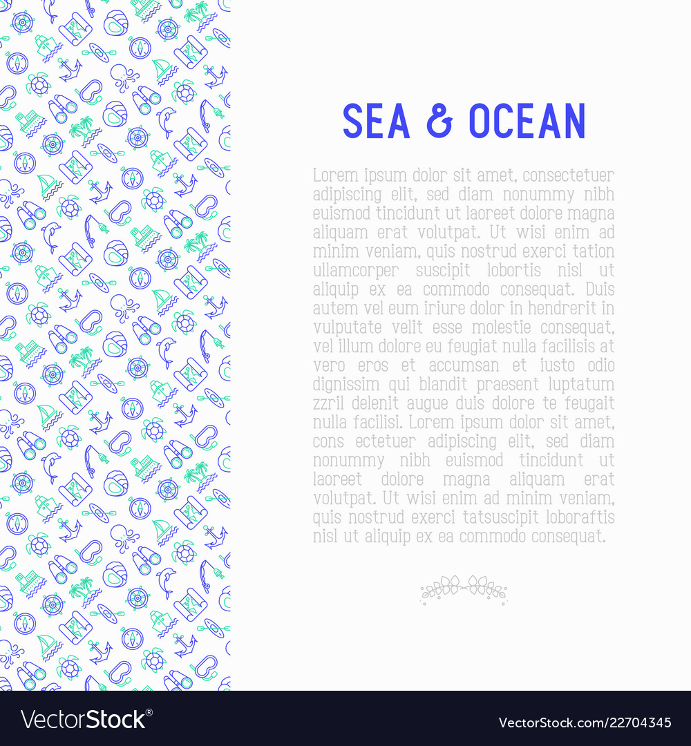 Sea and ocean journey concept with thin line icons
