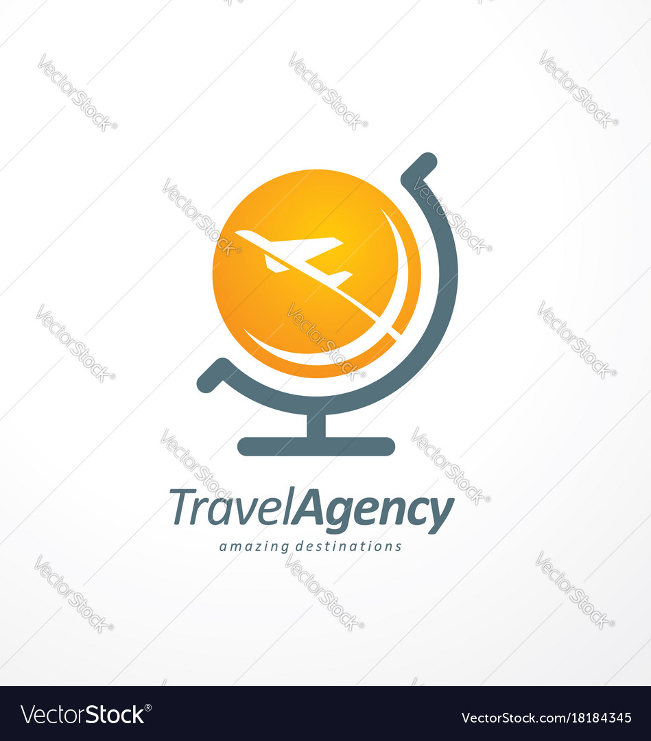 Travel agency logo design idea vector image