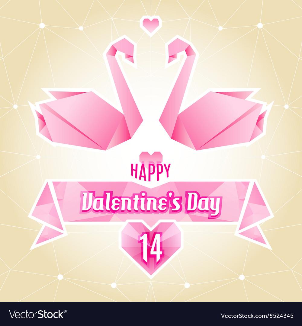 Valentine card origami swan paper cranes vector image