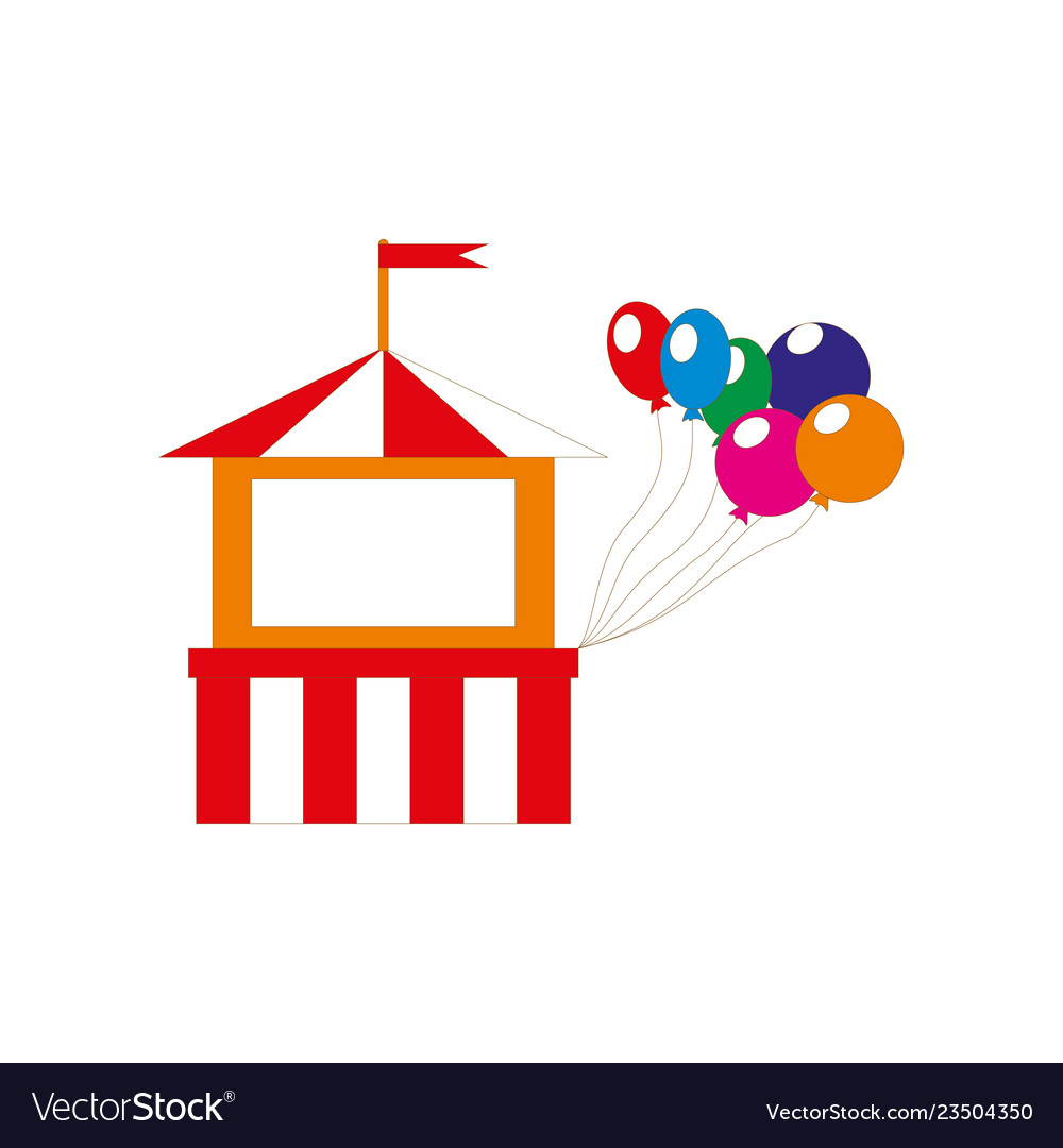 Attractions building icon with balloons isolated