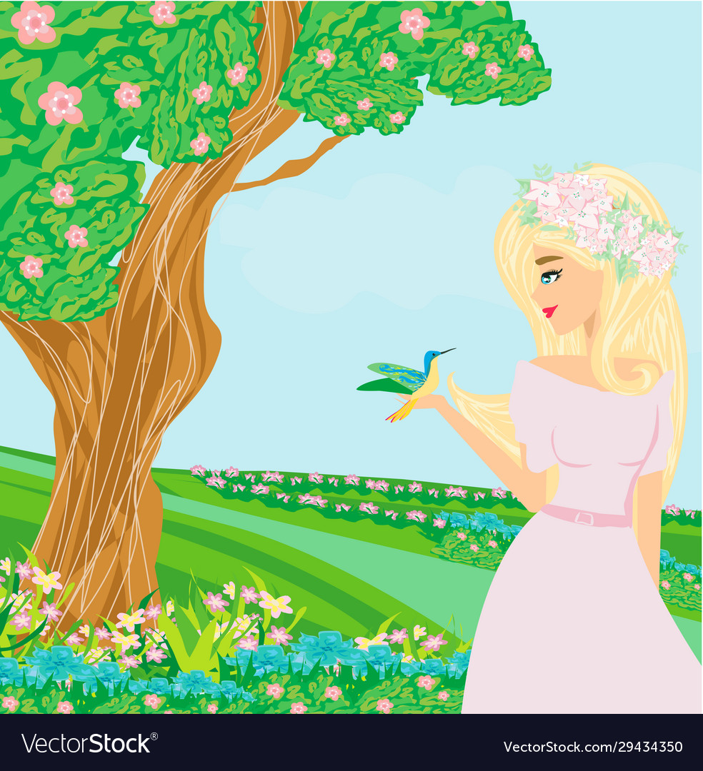 beautiful girl in spring on a walk royalty free vector image beautiful girl in spring on a walk royalty free vector image