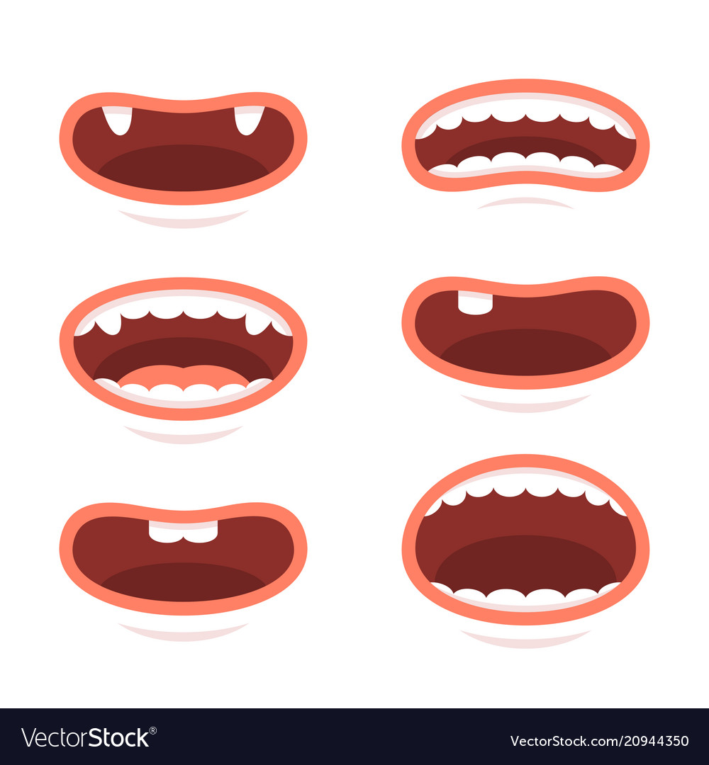 Cartoon style mouths set on white background