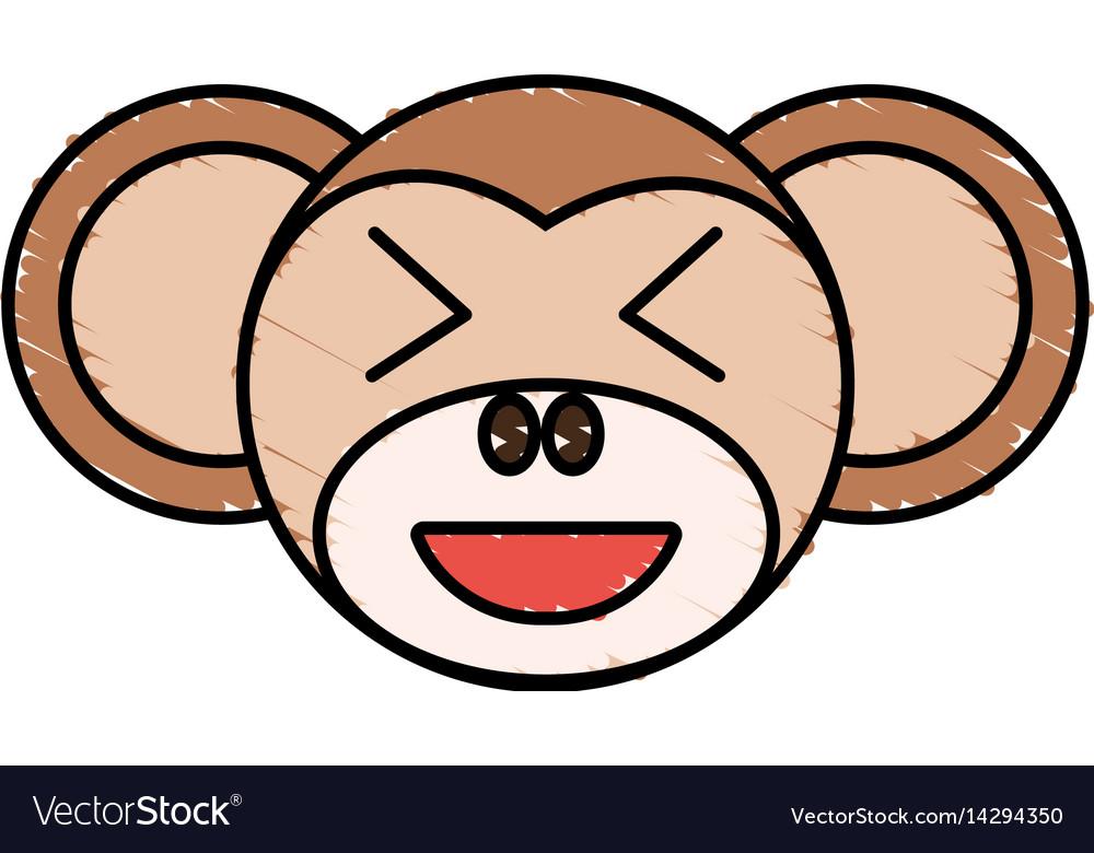 Cute monkey drawing animal vector image