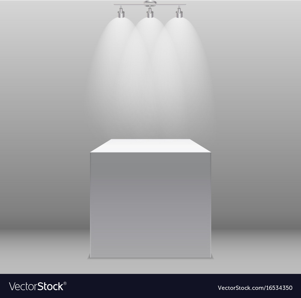 Exhibition concept white empty box stand with vector image