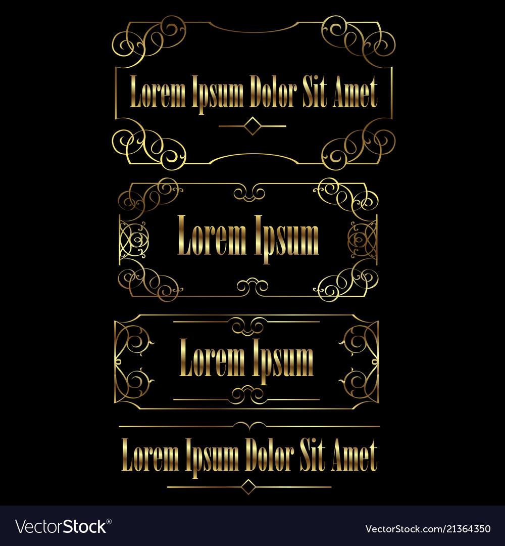 Golden vintage calligraphic frames borders set